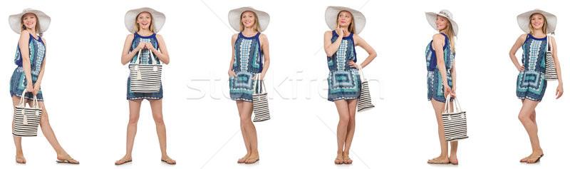 Collage Frau Panama hat isoliert weiß Stock foto © Elnur