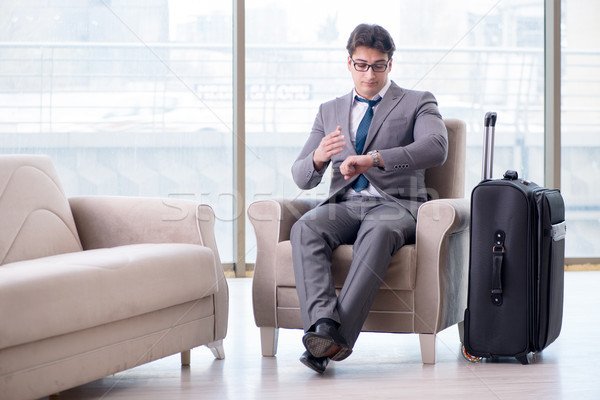 The young businessman in airport business lounge waiting for flight Stock photo © Elnur