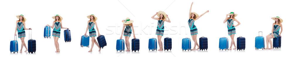 Kadın yaz tatili yalıtılmış beyaz plaj kız Stok fotoğraf © Elnur