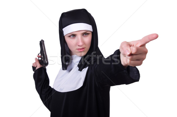 Nun with handgun isolated on white Stock photo © Elnur