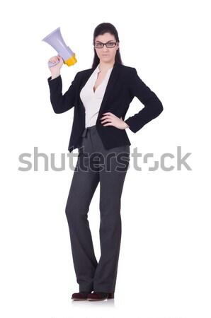 Mujer gritando altavoz blanco negocios construcción Foto stock © Elnur