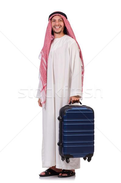 Foto stock: Árabe · homem · bagagem · branco · fundo · empresário