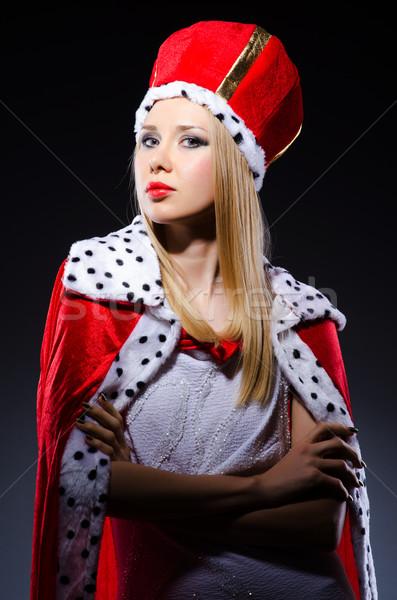 Stockfoto: Vrouw · koningin · grappig · werk · zakenman · uitvoerende