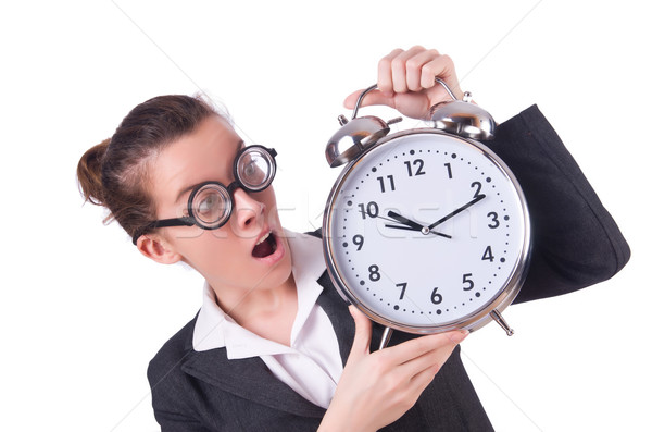Donna imprenditrice gigante sveglia clock lavoro Foto d'archivio © Elnur