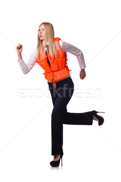 Young woman with life vest on white Stock photo © Elnur