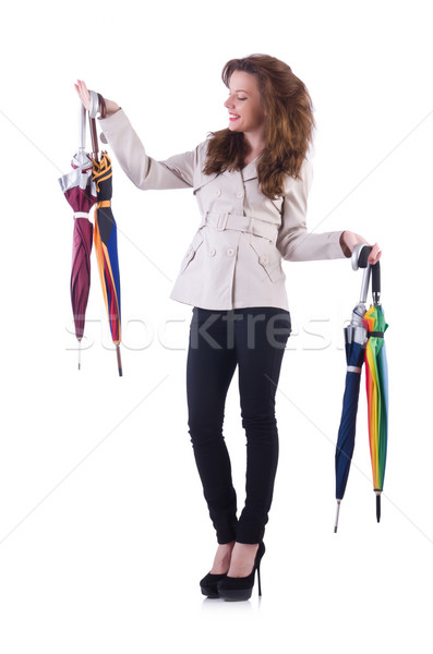 Vrouw paraplu geïsoleerd witte mode zon Stockfoto © Elnur