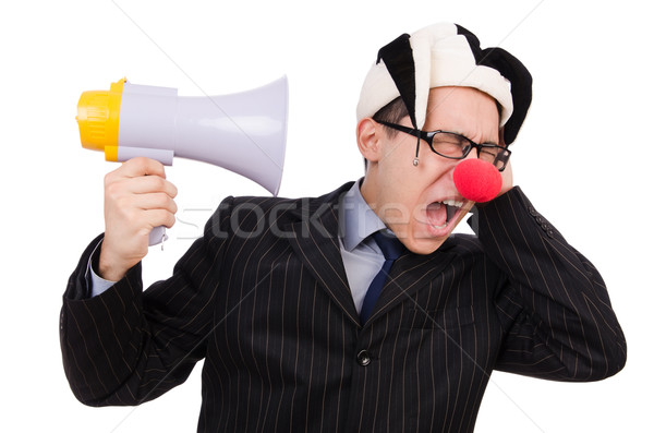 üzletember bohóc hangfal fehér arc férfi Stock fotó © Elnur