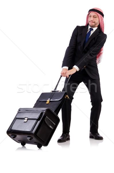 árabes hombre equipaje blanco fondo empresario Foto stock © Elnur