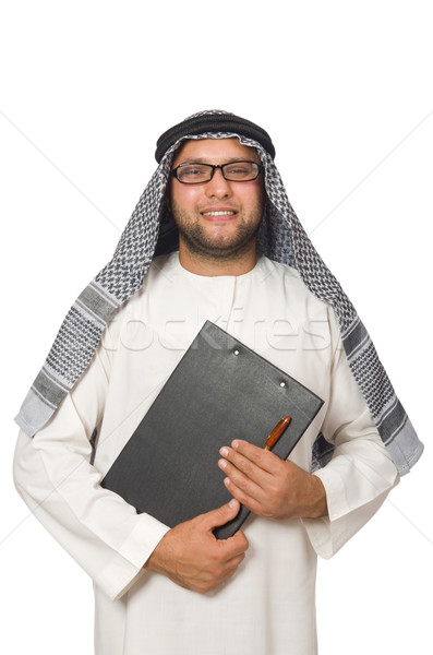 Concept with arab man isolated on white Stock photo © Elnur