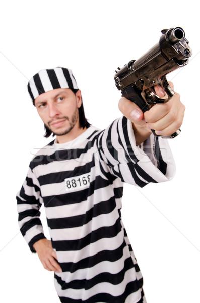 Börtön bennlakó fegyver izolált fehér kéz Stock fotó © Elnur