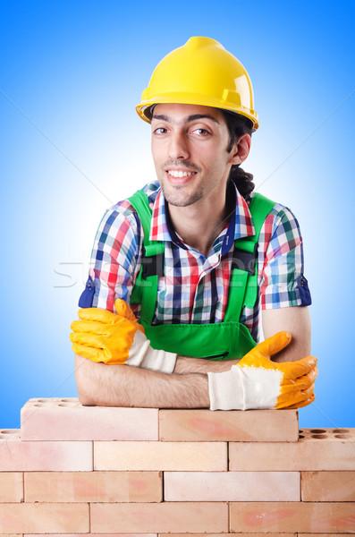 Builder with hard hat on white Stock photo © Elnur
