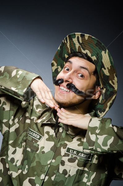 Vicces katona katonaság férfi háttér biztonság Stock fotó © Elnur