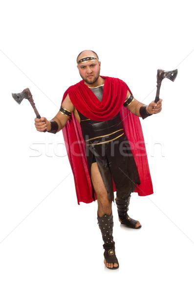 Gladiator with hatchet isolated on white Stock photo © Elnur