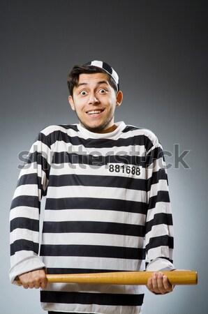 Mahkum ceza çizgili üniforma adam güvenlik Stok fotoğraf © Elnur