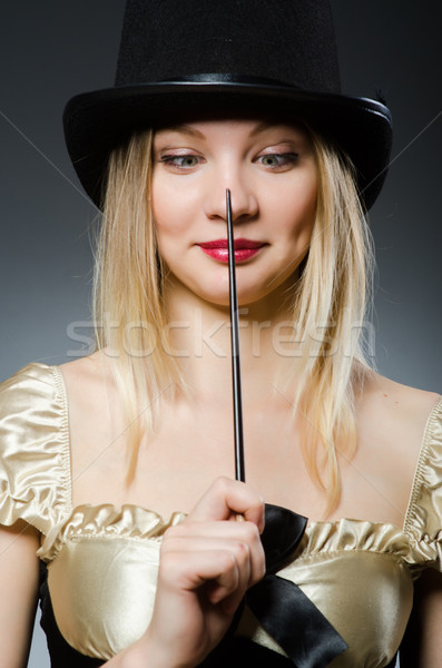Mujer mago varita mágica sombrero mano traje Foto stock © Elnur