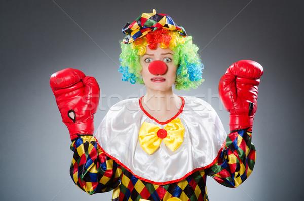 Engraçado palhaço luvas de boxe sorrir feliz esportes Foto stock © Elnur
