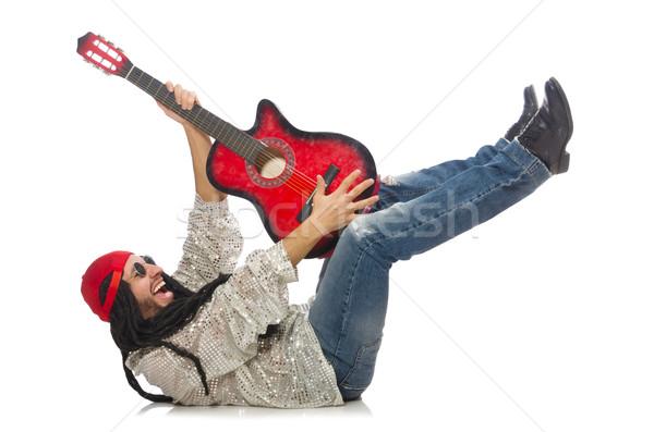 Maschio musicista chitarra isolato bianco rock Foto d'archivio © Elnur