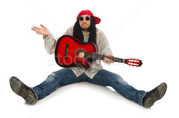 Masculino músico guitarra isolado branco homem Foto stock © Elnur