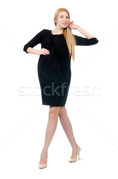 Dość kobieta w ciąży mini czarna sukienka odizolowany biały Zdjęcia stock © Elnur