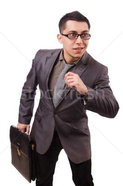 Genç evrak çantası yalıtılmış beyaz adam Stok fotoğraf © Elnur