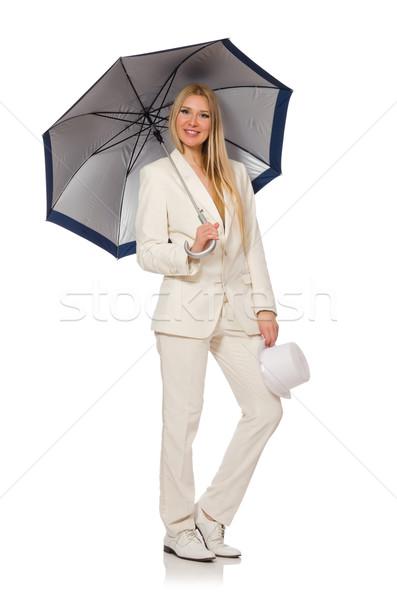 Vrouw paraplu geïsoleerd witte water gelukkig Stockfoto © Elnur