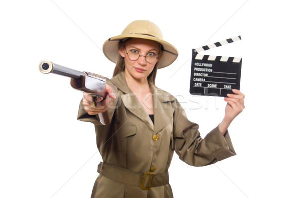 Femme Safari chapeau blanche film Photo stock © Elnur