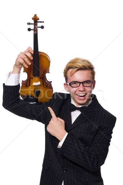 Fiatal zenész hegedű izolált fehér férfi Stock fotó © Elnur