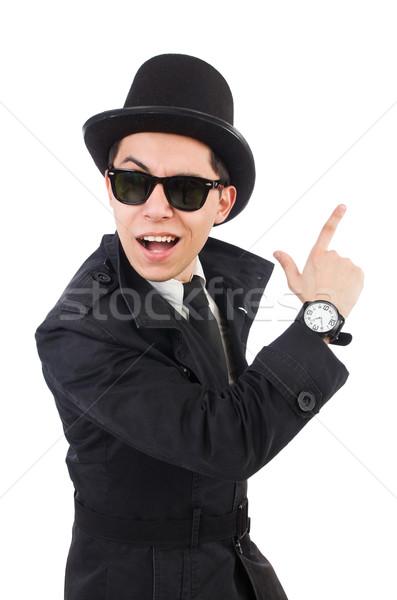 Jonge detective zwarte jas geïsoleerd witte Stockfoto © Elnur