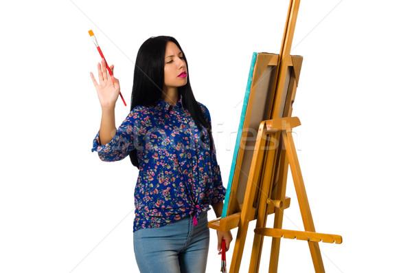 Művész dolgozik paletta izolált fehér nő Stock fotó © Elnur
