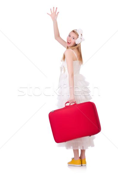 Frau Hochzeitskleid Koffer Hochzeit glücklich Schönheit Stock foto © Elnur