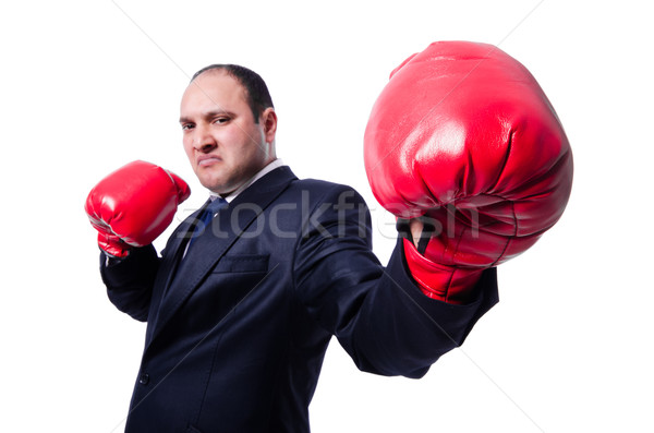 Young businessman boxer isolated on white Stock photo © Elnur
