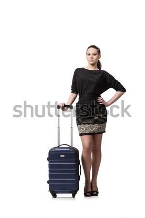 Młoda kobieta walizkę odizolowany biały kobieta dziewczyna Zdjęcia stock © Elnur