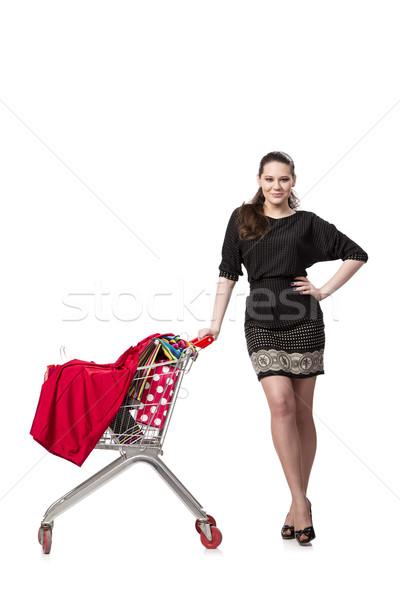 Nő bevásárlókocsi szatyrok izolált fehér háttér Stock fotó © Elnur