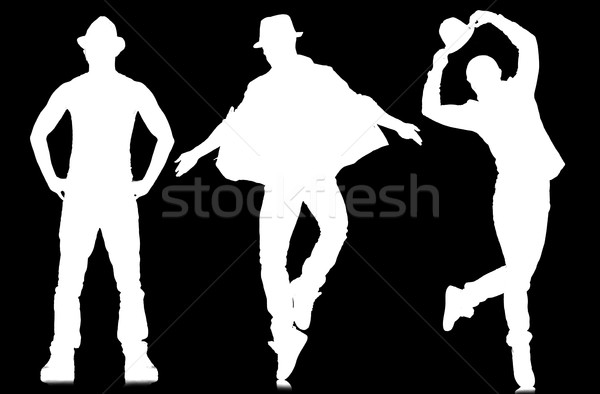 Silhouettes of dancers in dancing concept Stock photo © Elnur