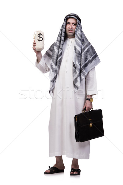 Arab Mann Geld isoliert weiß Business Stock foto © Elnur