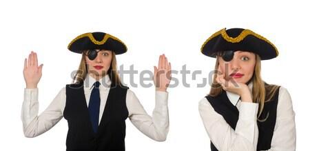 Vrouw piraat geïsoleerd witte business meisje Stockfoto © Elnur