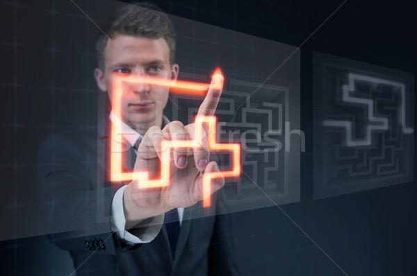 Biznesmen labirynt trudny człowiek streszczenie wolności Zdjęcia stock © Elnur