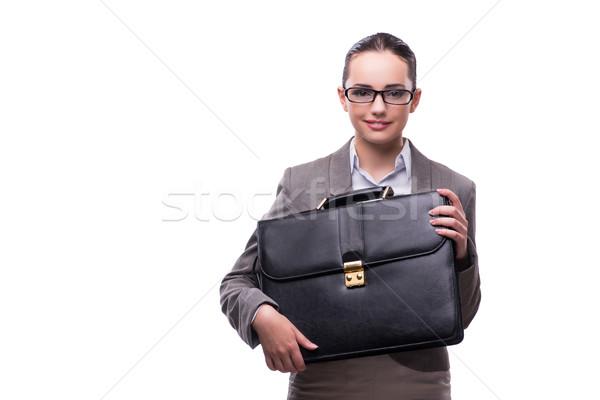 üzletasszony aktatáska izolált fehér üzlet lány Stock fotó © Elnur