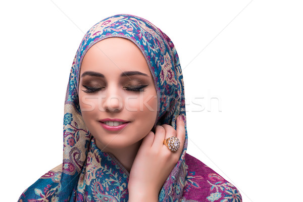 Vrouw traditioneel moslim dekken ring gelukkig Stockfoto © Elnur
