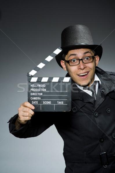 Dedektif siyah kat gri mutlu film Stok fotoğraf © Elnur