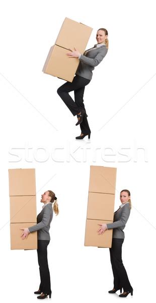 Görüntü kadın kutuları beyaz ofis Stok fotoğraf © Elnur