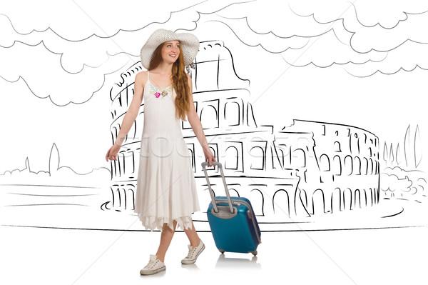 Fiatal nő utazás lány boldog divat háttér Stock fotó © Elnur