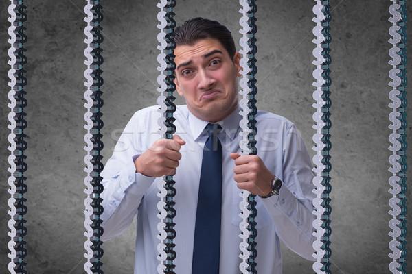 Hombre atrapado prisión dólares negocios dinero Foto stock © Elnur