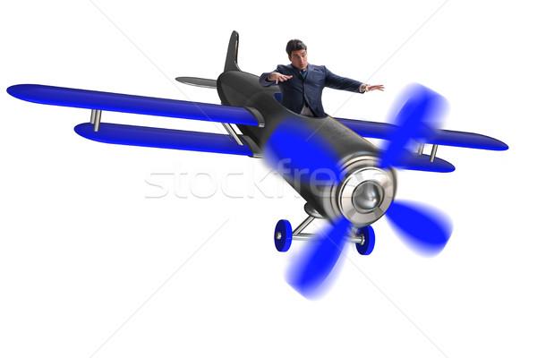 ストックフォト: ビジネスマン · 経済の · 危機 · 空 · 飛行機 · 平面
