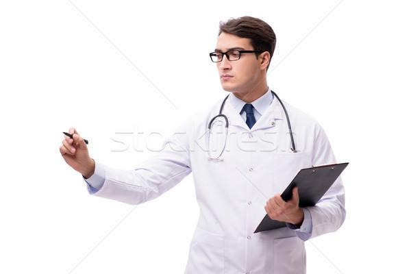 Jonge arts geïsoleerd witte geneeskunde notebook Stockfoto © Elnur