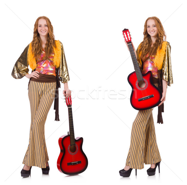 The young girl with guitar on white Stock photo © Elnur
