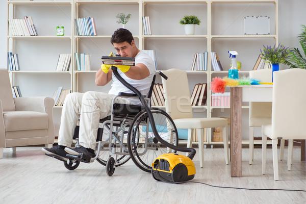 инвалидов человека пылесос домой дома счастливым Сток-фото © Elnur