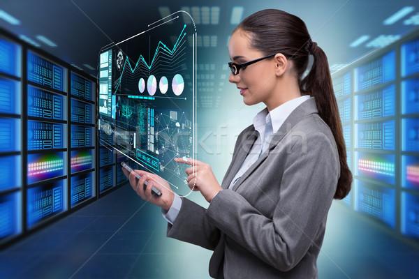 Concept of big data management with businesswoman Stock photo © Elnur
