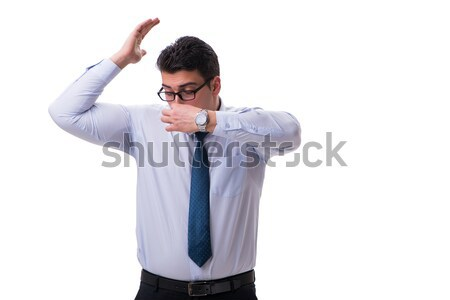 Businessman sweating excessively smelling bad isolated on white  Stock photo © Elnur