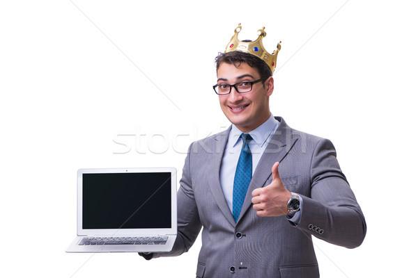царя бизнесмен ноутбука изолированный белый Сток-фото © Elnur